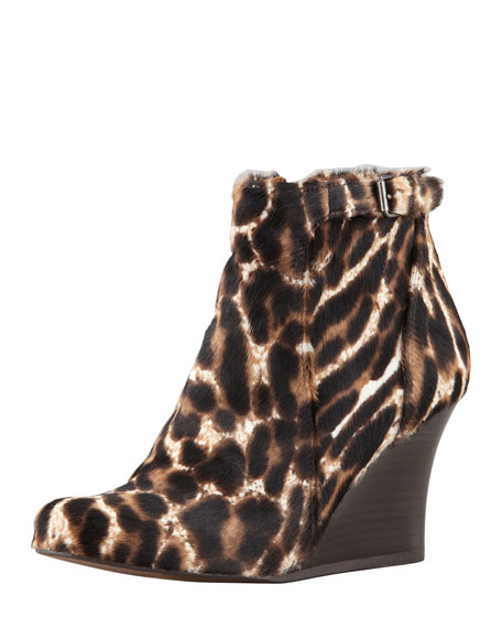 Leopard-Printed Calf Hair Wedge Ankle Boot