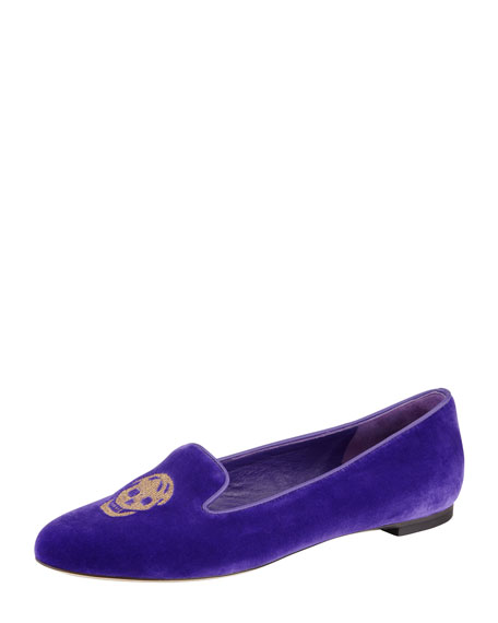 Embroidered Skull Smoking Slipper, Purple