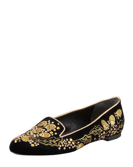 Embroidered Velvet Smoking Slipper, Black/Gold