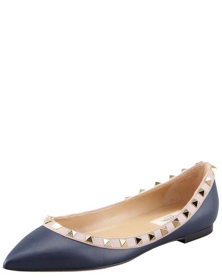 Rockstud Leather Ballerina Flat, Dark Blue