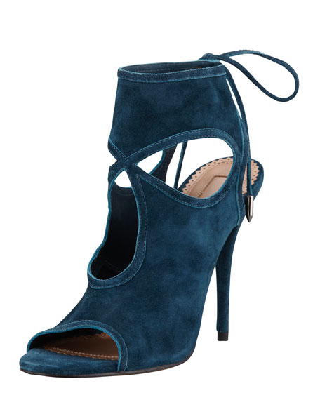 Sexy Thing Suede Tie-Back Sandal, Dark Teal