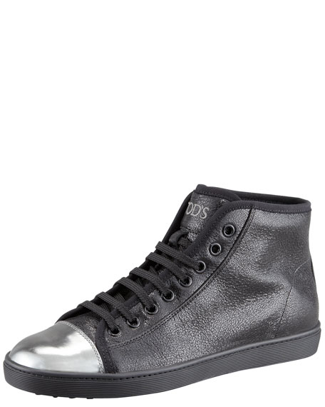 Metallic Cap-Toe High-Top Sneaker