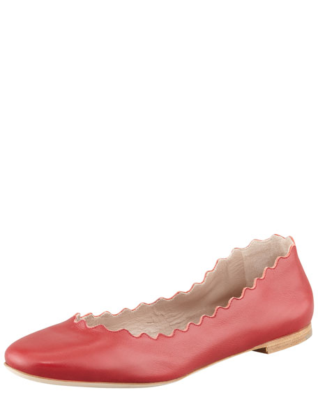 Scalloped Leather Ballerina Flat, Red