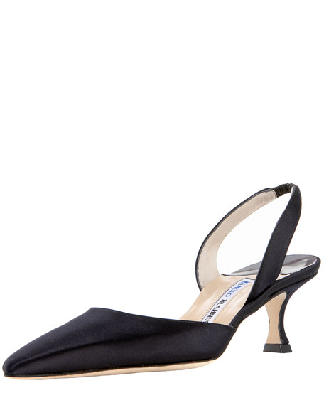 Satin Low-Heel Halter, Black