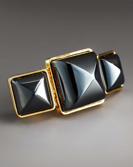Triple-Stone Hematite Ring