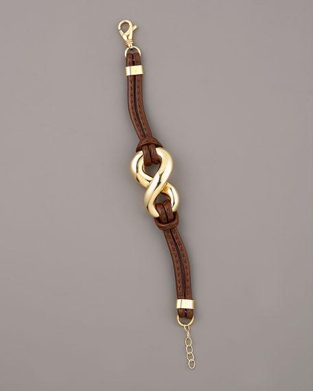 Leather & Gold Twist Bracelet, Brown