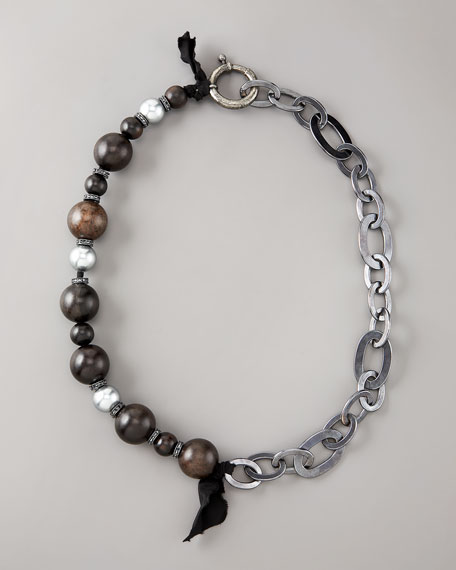 Wood & Pearl Mixed Necklace