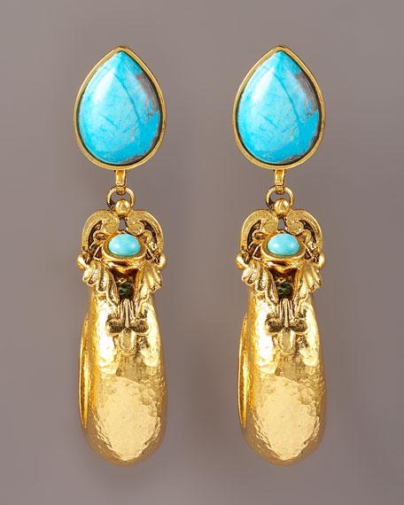 Turquoise J Earrings