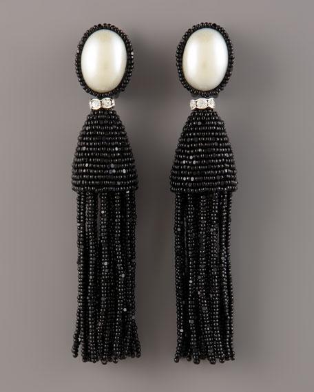 Pearl-Post Tassel Earrings