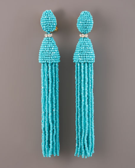 beaded tassel earrings - Blue Oscar De La Renta uPAnuTomYB