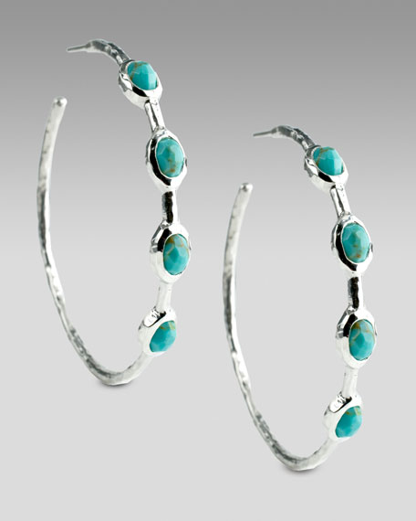 Turquoise Four-Stone Hoops