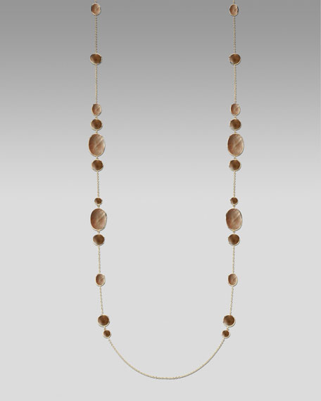 "Brown Shell Necklace, 50""L"