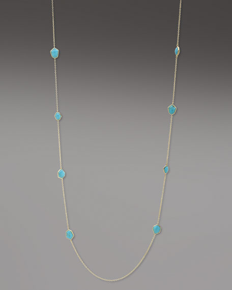 "Faceted Turquoise Necklace, 36""L"