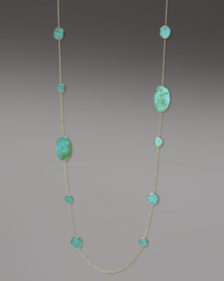 "Polished Rock Candy Turquoise Necklace, 37""L"