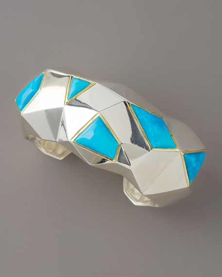 Faceted Turquoise Cuff, Large