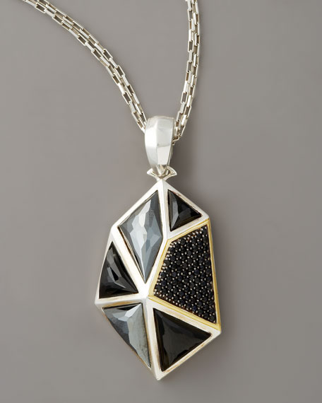 Faceted Onyx Pendant Necklace, Large