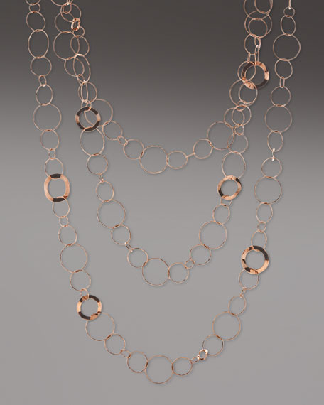 Rose Long Three-Strand Necklace