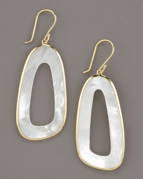 Irregular Oval Mother-of-Pearl Earrings