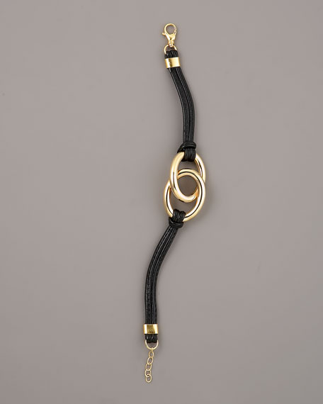 Leather & Gold Nodi Bracelet, Black