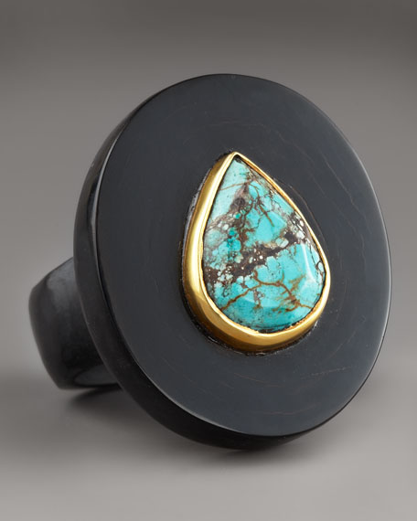 Turquoise and Dark Horn Ring