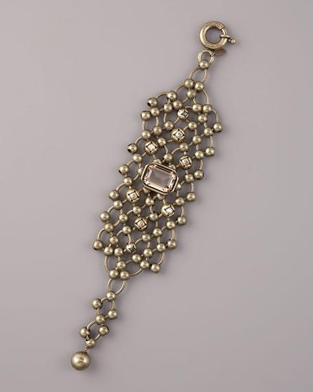 Beaded-Chain Cuff Bracelet, Brass