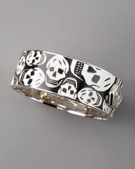 Medium Enamel Skull Bracelet, Black/White