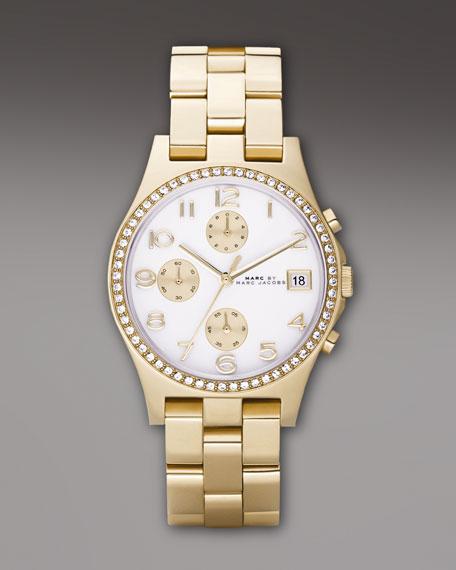 Glitz Chronograph Watch, Golden