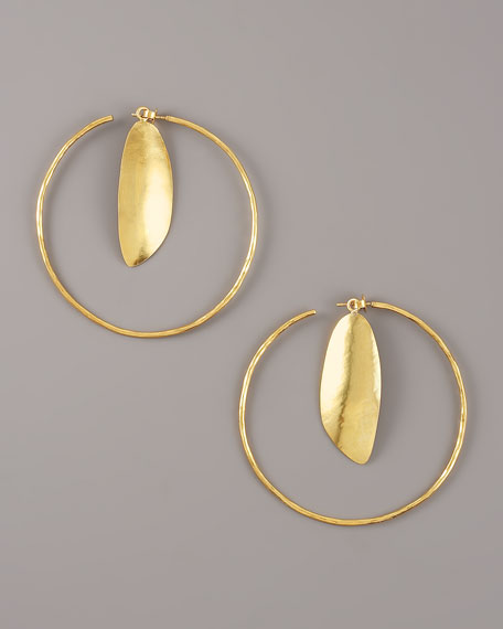 Gold Chip Hoop Earrings