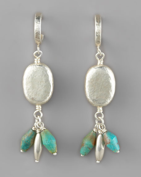 Dalian Turquoise & Silver Drop Earrings