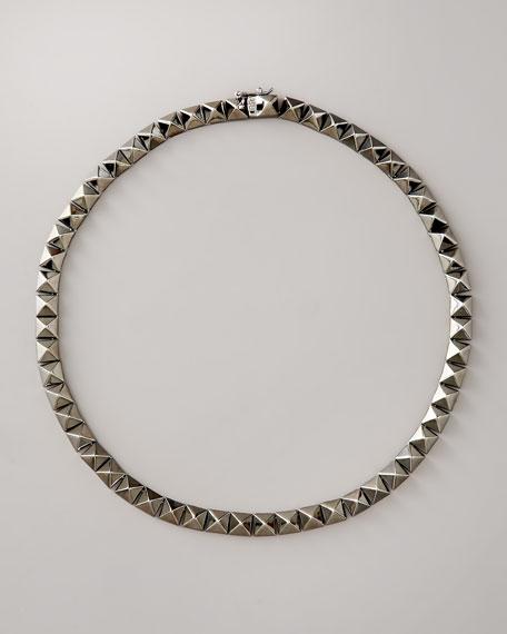 Pyramid Choker Necklace, Gunmetal