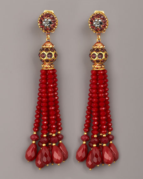 Bead-Tassel Earrings, Burgundy