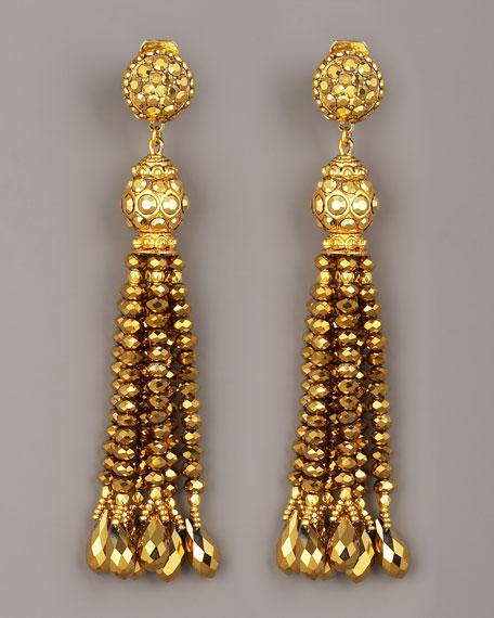 Bead-Tassel Earrings, Gold