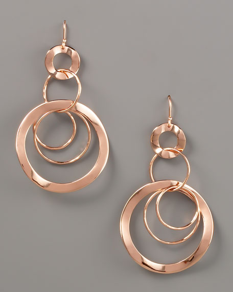 Wavy Circle-Link Drop Earrings