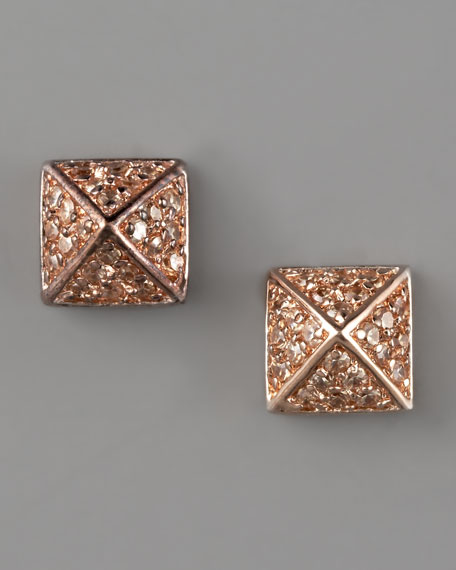 Pave Pyramid Stud Earrings, Rose