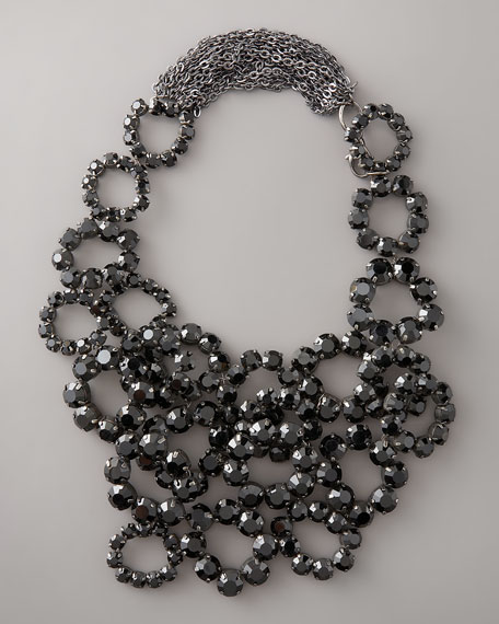 Crystal Bib Necklace, Black