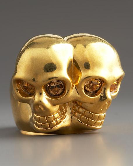 Conjoined Skull Ring, Golden