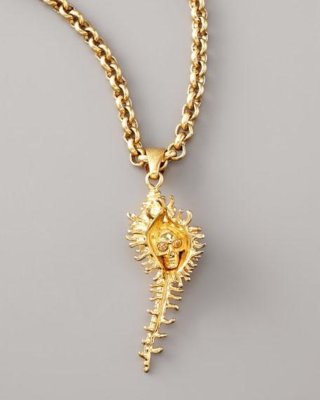 Shell Skull Pendant Necklace