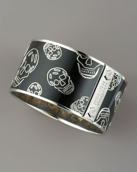 Large Enamel Skull Bangle, Black