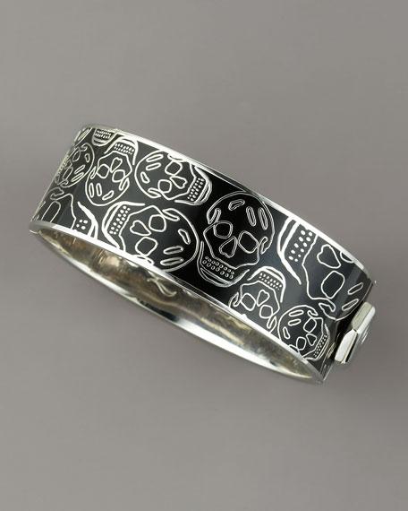 Medium Enamel Skull Bracelet, Black