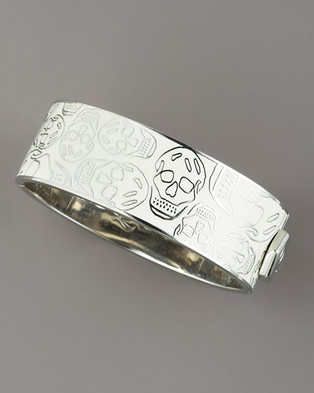 Medium Enamel Skull Bracelet, White