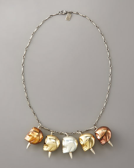 Mixed-Metal Skull Necklace