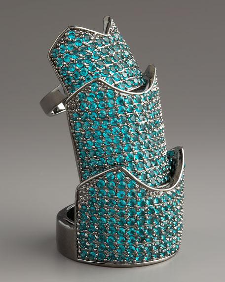 Pave Crystal Hinge Ring, Aqua