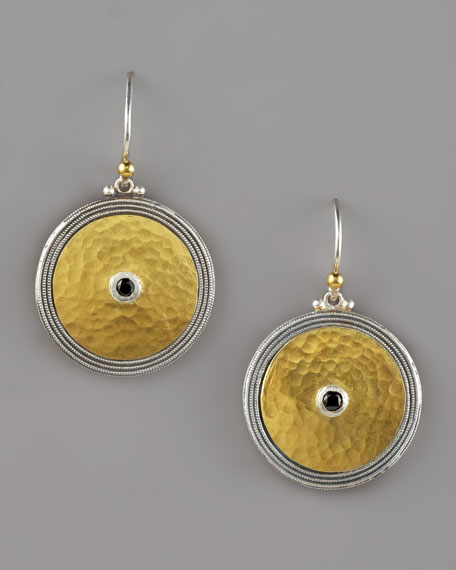 Gold & Spinel Shield Earrings