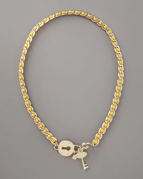 Lock & Key Necklace, Yellow