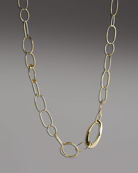 "Handcrafted Gold Link Necklace, 18""L"