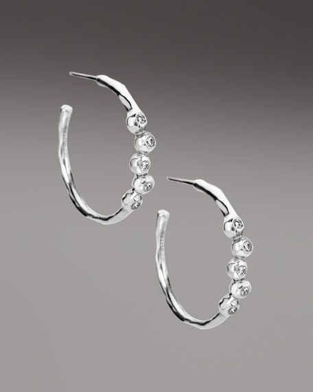 Stacked-Diamond Hoop Earrings