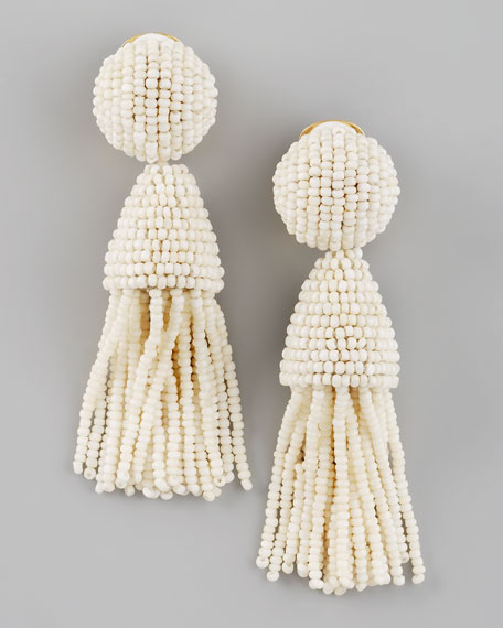 Beaded Short Tassel Earrings, Ivory