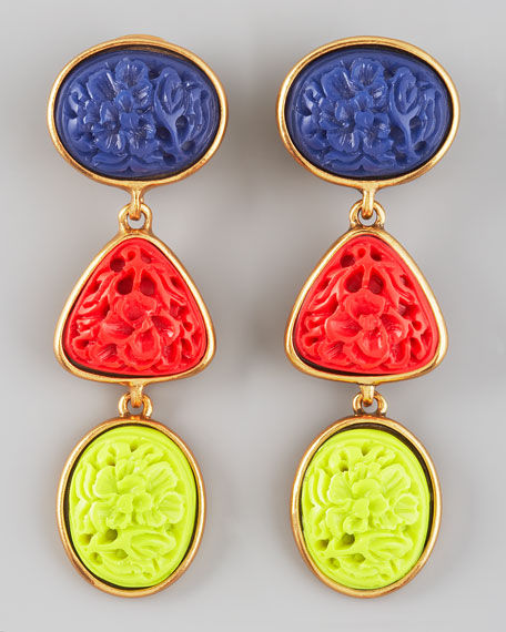 Carved Cabochon Earrings, Primary
