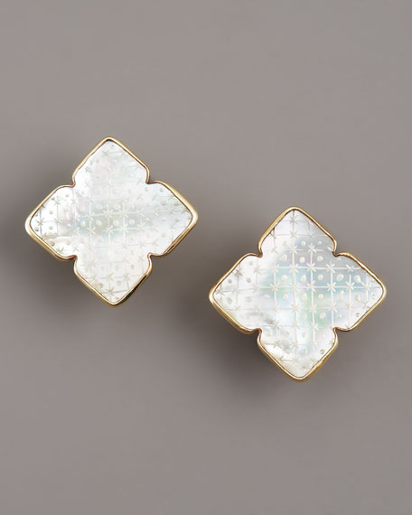 Etched Mother-of-Pearl Clip-on Earrings