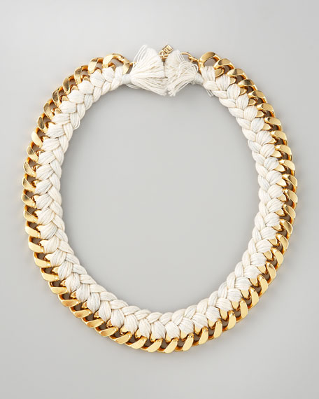 Braided Chain Necklace, Ivory
